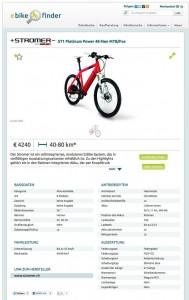 Große Auswahl bei Elektrorädern filtert der eBikeFINDER klein. Screenshot: eBikeFINDER