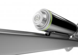Am Akku wird das System ein- und ausgeschaltet. Auch die drei Unterstützungsstufen lassen sich hier wählen. Der LED-Ring verrät mit seiner Farbe, wie voll der Akku noch ist.